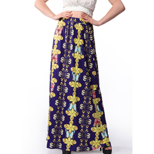 Ruiyige Stylish Summer Beach Holiday Casual Women Skirt High Waist Traditional African Printed Skirt Retro Maxi Long Saias Jupe