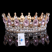 Hot sale New Fashion Elegant Pink Crystal Bridal crown classic Gold Tiaras for Women Wedding hair jewelry accessories(China)