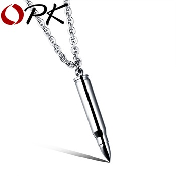 OPK Cool Man's Bullet Pendant Necklaces New Fashion Punk Style Stainless Steel Personality Men's Jewelry 3 Colors GX1047
