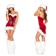 Wholesale Free P&P Sexy Lady Cute Santa Christmas Party New Year Costume Fancy Dress Trumpet Outfit Fit Well Size S/M XD11