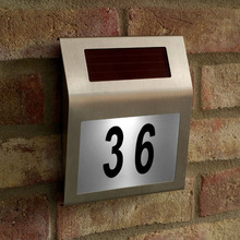 Stainless Steel Solar Powered Light 3 LED Illumination LED Doorplate Wall Lamp Outdoor House Home Numbers Light With Backlight(China)