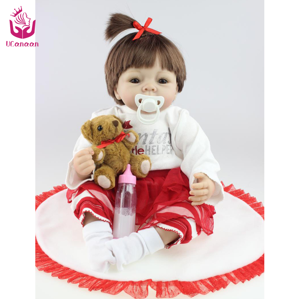 UCanaan 50-55cm Cute  Soft Silicone Reborn Doll Toys With A Bear The Best Christmas Gift For Your Babies or Your Lovers<br><br>Aliexpress