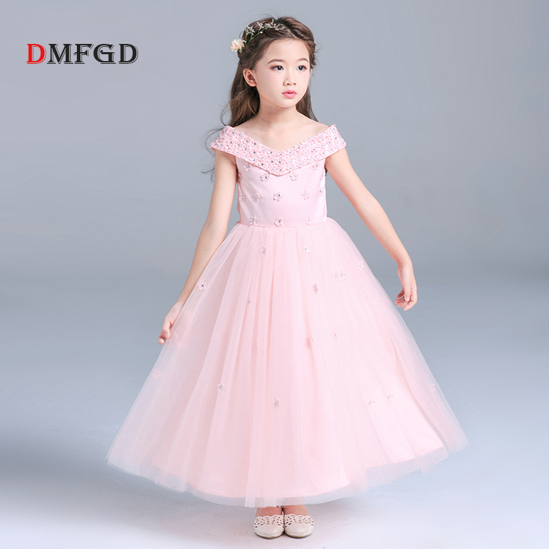Fashion Children Princess dress girls dress shoulderless wedding flower kids dress female tutu piano performance costume clothes<br>
