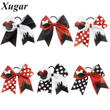 7'' Cute Children Boutique Printed Glitter Cheer Bow With High Quality Elastic Bands For Pretty Girls(China)