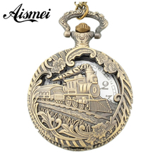 Vintage bronze Train Front Locomotive Engine Necklace Quartz Pocket Watch Chain Men Women Gift Relogio De Bolso 5pcs/lot