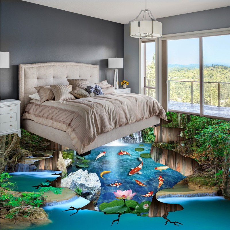 Free shipping living room bathroom self-adhesive mural baby room wallpaper Fish pond nine fish Figure 3D floor painting<br>