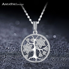 ANFASNI Necklace & Pendant With Silver Color CZ Tree Of Life Necklace For Women Statement Jewelry Gift CNL0673(China)