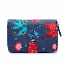 Miss Lulu Women Elephant Animal Pattern Matte Oilcloth Short Purse Organizer Coin Wallet Hand Bag Blue Beige Black Navy 1580