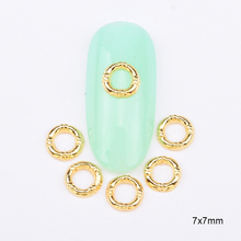 10pcs    glossy round nails supplies Gold alloy  3D nail piercing  strass nail art  BL12