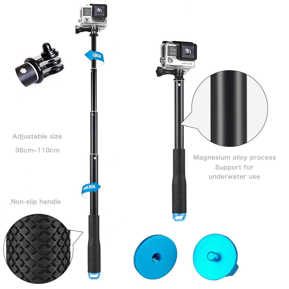 GoPro Remote Control Accessories For GoPro Hero 6 GoPro Hero 5  GoPro Hero 4 Session+Aluminum Remote Telescopic Pole Extendable Monopod For  GoPro Hero 5  GoPro Hero 6  GoPro Hero Session  GoPro Hero4 Session GoPro Hero 5 Session