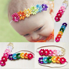 QIUWU  Cute Baby Girl Hairband Rainbow Photography Kids Headwear Head Bands Decoration Colorful Flower Hair Headband Acessories