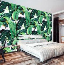 beibehang Custom 3d wallpaper European retro hand-painted rain forest plant Banana Leaf Pastoral Wall Background papel de parede
