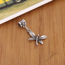 15 pcs Vintage silver plated big hole bead fit Pandora charm dragonfly pendants for European bracelet DIY jewelry 28101