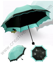 2pcs/lot colour option super light folding mini umbrella 5 times black coating Anti-UV two layers olive green lace parasol(China)