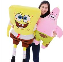 100cm Sponge Bob Baby Toy Spongebob And 80cm Patrick Plush Toy Soft Anime Cosplay Doll For Kids Toys Cartoon Figure Cushion(China)