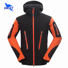 2016 New Waterproof Outdoor Climbing Mountain Hiking Clothing Tech Fleece Softshell Jacket Men Sport Fishing Hunting Ski Clothes(China)