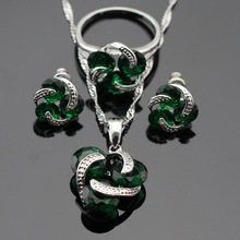 Round Green Created Emerald Silver Color Jewelry Sets For Women Earrings/Ring/Pendant/Necklace Free Gift Box Made in China