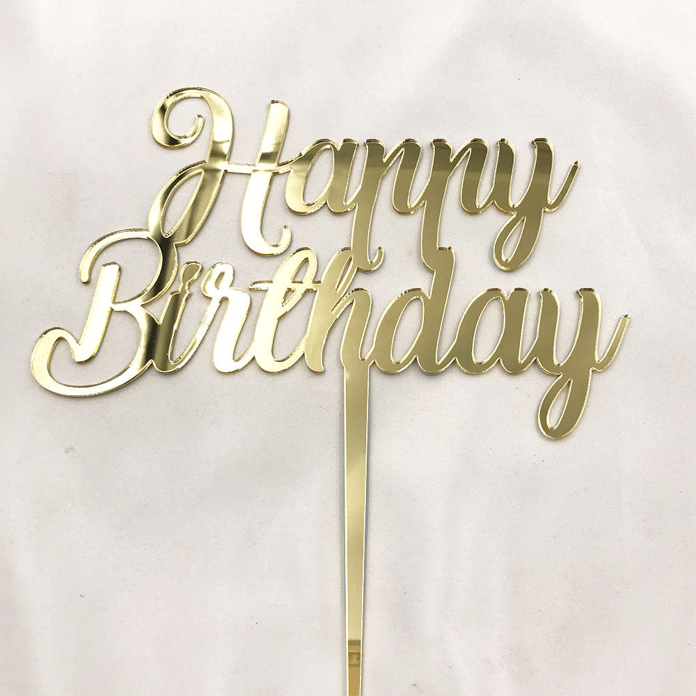 Topper Happy Birthday Cake Toppers Toothpicks Gold Glitter Acrylic