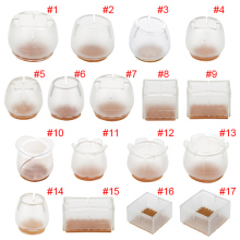 New 10pcs Silicone Rectangle Square Round Chair Leg Caps Feet Pads Furniture Table Covers Wood Floor Protectors   E2S