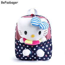 Classic Dot Removable Doll Sailors Hello Kitty Bag Kids Backpacks Gift for Girls Plush Cartoon Character Backpacks with Buoy(China)