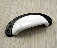"3 3/4"" 96 mm Black White Dresser Drawer Pulls Handles Ceramic / Kitchen Cabinet Door Knob Pull Cup / Vintage Furniture Hardware()"