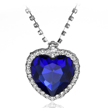 Classic Style Two Colors Big Rhinestone Titanic Necklace Blue Red Heart Crystal Women Necklace Jewellery