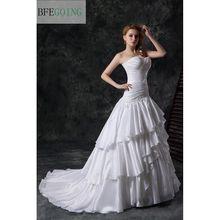 Тафта трапециевидной формы длиной до пола свадебное платье Часовня Поезд Милая-заниженная линия талии шнуровка сзади JENNA(China)
