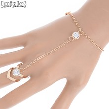Fashion Gorgeous Rhinestone Bracelet Bangle Connected Finger Ring Gold Color Bangle Link Crystal Handlets Jewelry Gift(China)