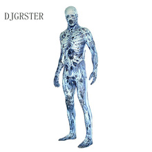 DJGRSTER Halloween Men Adult Scary Skull Jumpsuit Day of the dead Suit Carnival Party Fancy Skeleton Cosplay Costume