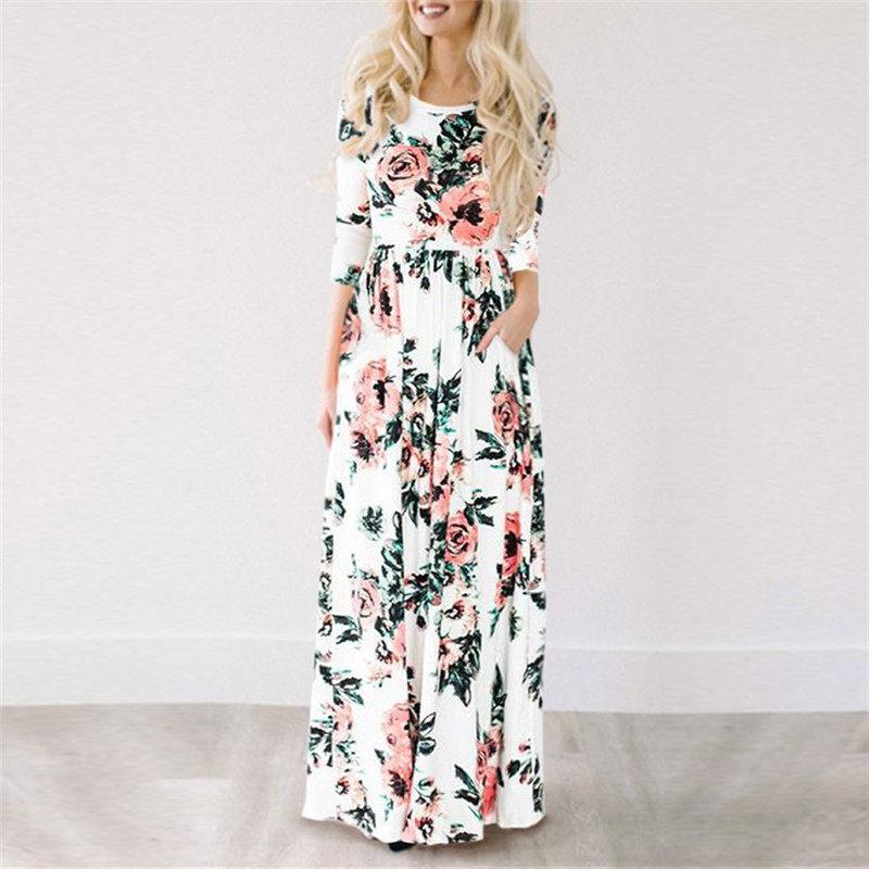 Women Long Maxi Dress 2018 Summer Floral Print Boho Beach Dress Short  Sleeve Evening Party Dress eb5c1e29b18b