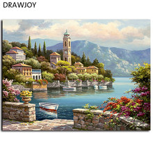 DRAWJOY Framed Home Decor Picture Painting By Numbers Wedding Decor DIY Canvas Oil Painting Wall Art For Living Room Picture