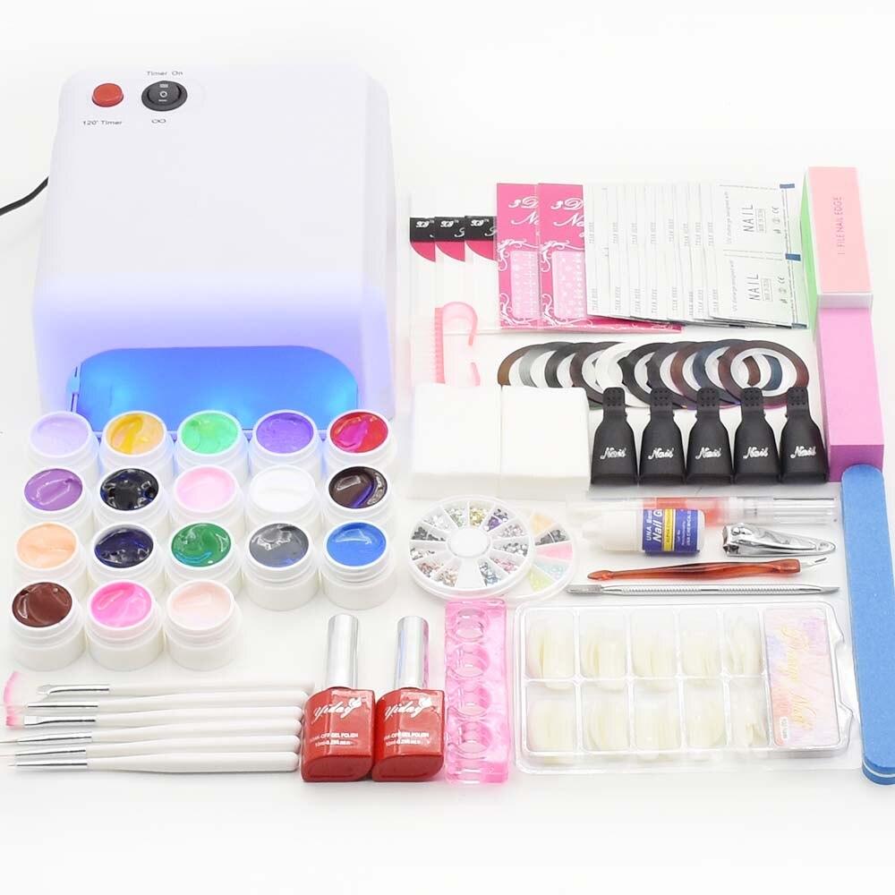 Jewhiteny 36W UV lamp nail dryer 18 colors uv gel polish nail art kit set manicure set base gel top coat nail tools Brushes <br>