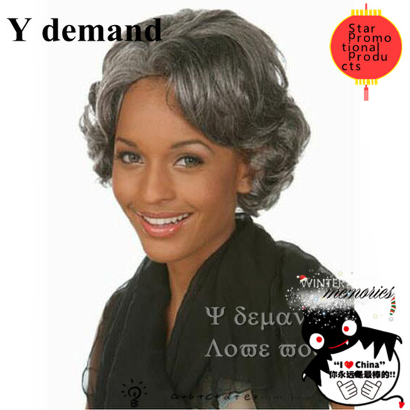 perruque synthetic women African american short silver gray Wigs synthetic Curly grey wig for black old Women Elderly Ladies<br><br>Aliexpress