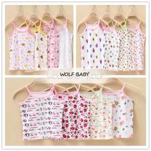 4pcs/lot 10months-3years sleeveless print camisole vest T-shirt baby kids children Clothing girls Clothes Infant Garment