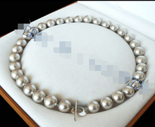"FREE SHIPPING>>>@@ 12mm AAA+ Silver Gray south sea shell pearl necklace 18""AAA style Fine Noble real Natural S"