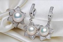 Fresh Water Real Pearl Earrings Stu Ring Necklace 9-11mm Classic Exquisite Flower S ilver Jewelry Set Lady Party Birthday Gift