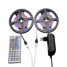 RGB Led Strip Light IP20 Flexible String DC12V 5M 10M Set SMD 2835 Tape Ribbon  + 44 Key Remote + 3A EU / US Plug Power Adapter