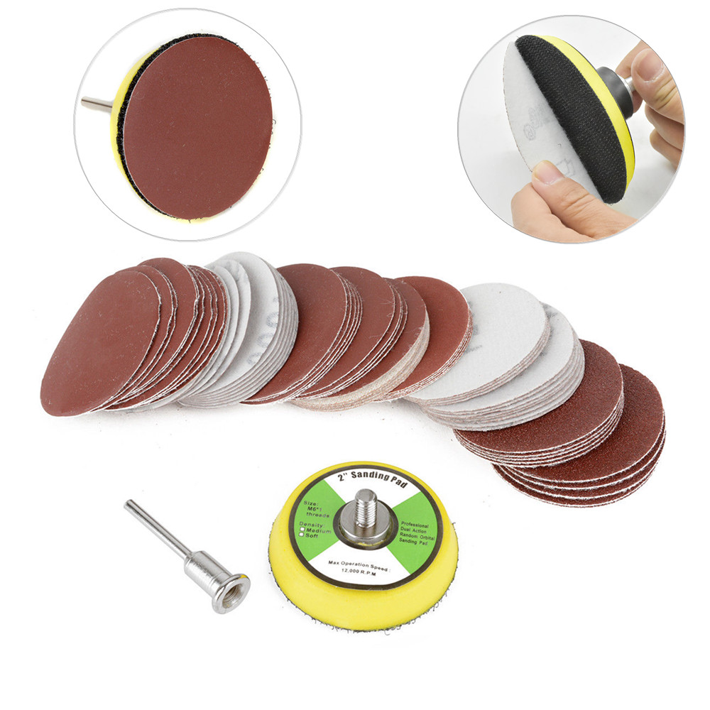 60pcs 100/240/600/800/1000/2000 Grits Sanding Disc Set 2inch 50mm+ Loop Sanding Pad  with 3mm Shank For Polishing Cleaning Tools