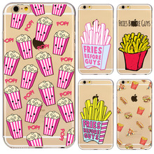 French Fries Hamburgers Burgers Potato Chips Design Cases For iPhone 6 6s Soft Clear Phone Back Case Fundas