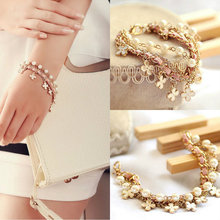 Hot Sweet Girls Four Leaf Clover Chic Leather Rope Simulated Pearl Bangle Bracelets Jewelry Gift Bracelet