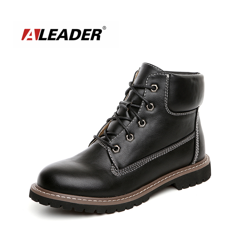 Fashion Brand Autumn Womens Boots Dress Leather Shoes For Women Short Ankle Boots Girls Lace Up Black CowGirl Booties Work Flats<br>
