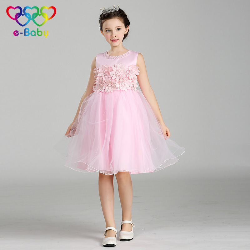 The lastest bridesmaid flower girl dresses sweet tulle embroidery floral ball gown lace mesh wedding dress for 3-8Y girls EB723<br>