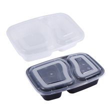 2 Compartment Microwave Heating Bento Lunchbox,Reusable Plastic Food Storage Containers with Lids,Black White Color,Set of 10Pcs(China)