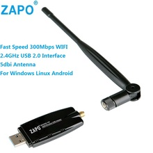 ZAPO 2.4G WIFI USB 300Mbps Lan Adapter 802.11n Wireless 5dbi Rotate Antenna Network Card For All Windows Linux Android System(China)