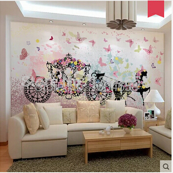 Custom 3 d large murals Romantic wedding carriage The sitting room sofa bedroom TV setting wall paper<br>