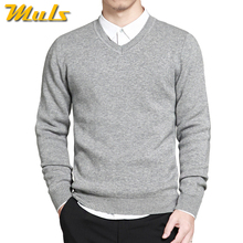2017 Spring mens sweater pullovers Simple style cotton knitted V neck sweater jumpers Thin male knitwear Blue Red Black M-4XL(China)