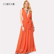Buy COLROVIE Plunging V-Neckline Tie Waist Maxi Dress Orange Line Belted Sleeveless Female Dress 2018 New Chiffon Dress for $22.99 in AliExpress store