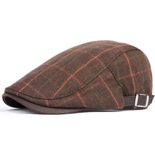 2015 New Sale Adult Plaid Casual Wool Leisure Boinas Masculinas Military Hat Male Autumn And Winter Beret Cap Men Fashion Check