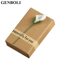GENBOLI Rectangle Fashion Jewelry Necklace Bracelet Earring Gift Box Kraft Paper Valentine Birthday Storage Packaging Case