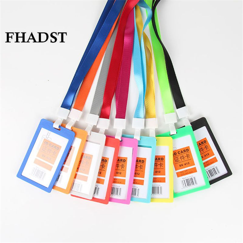 FHADST Id card holder high Quality Lanyard Name Plastic Credit Card Holders Bank Card Neck Strap Card holders Identity badge(China (Mainland))